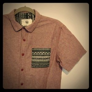 Men's On The Byas Red Short Sleeve Button T